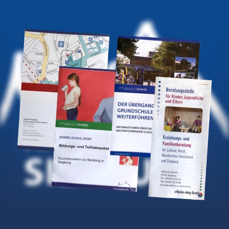 Das Bild zeigt eine Grafik zum Thema Flyer- und Broschüren