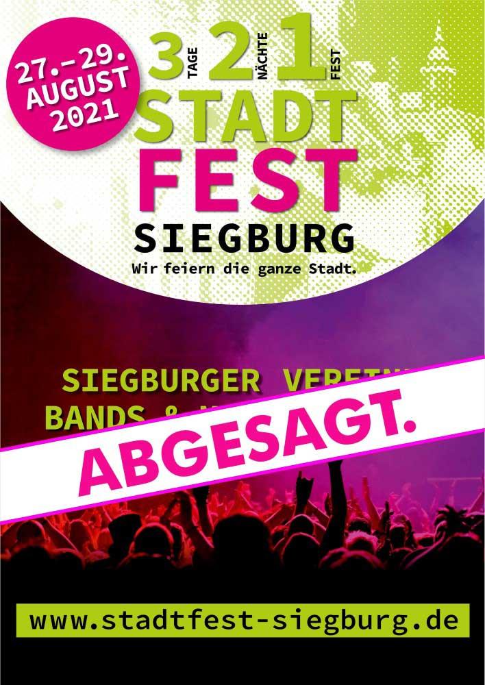 Plakat zur Absage des Siegburger Stadtfestes