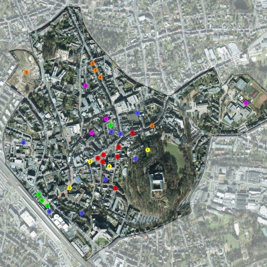 Hier ist eine Luftbildaufnahme der Siegburger Innenstadt zu sehen