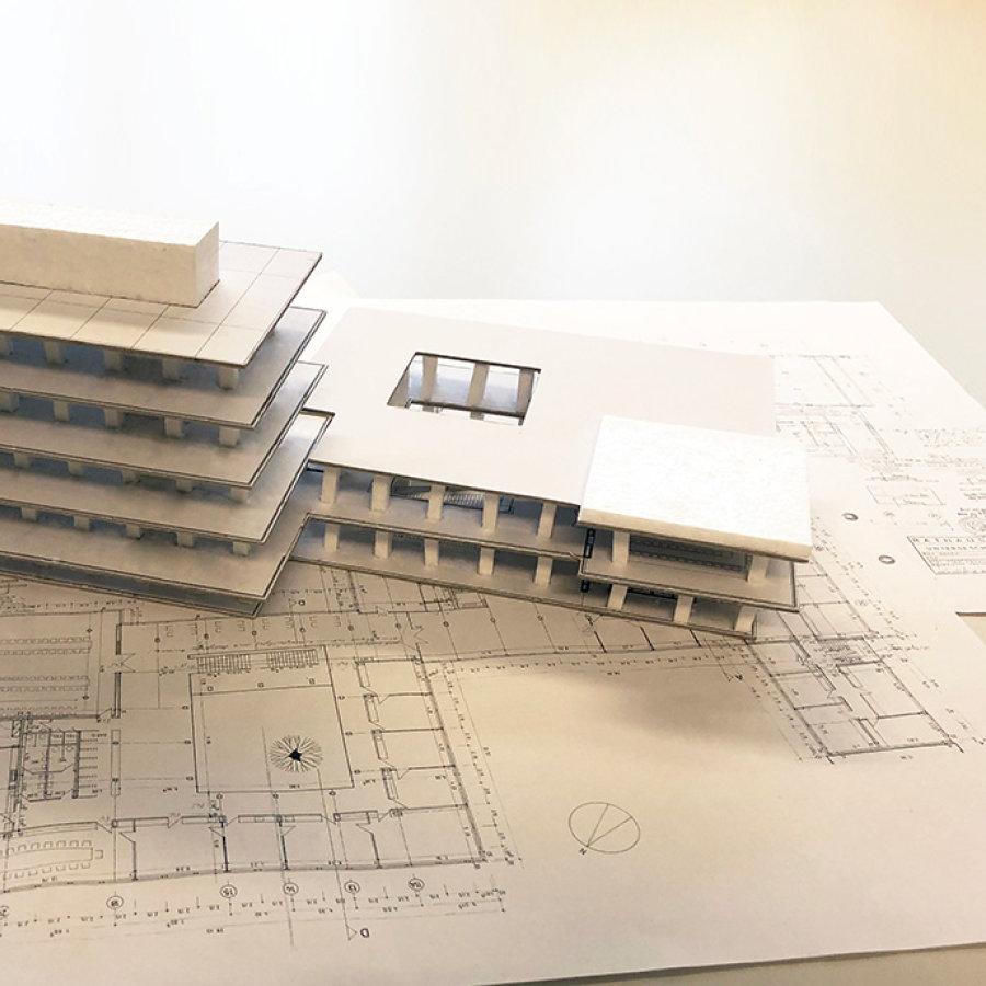Auf dem Bild sieht man ein Modell vom zukünftigen Rathaus