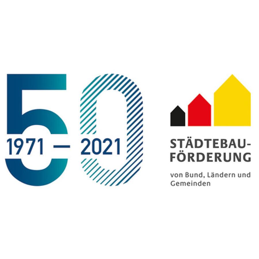 Das Bild zeigt das Logo 50 Jahre Städtebauförderung