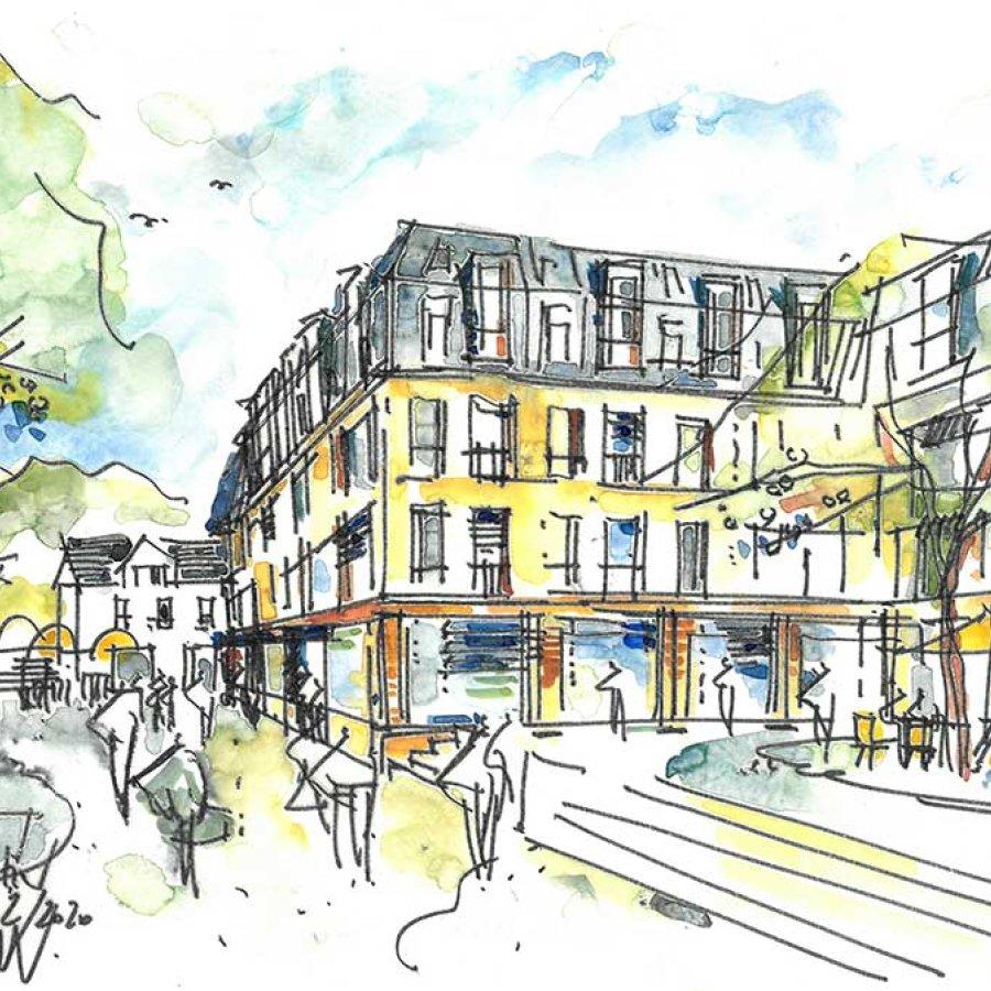 Auf dem Bild sieht man einen Entwurf für das zukünftigen Markt Quartier Siegburg