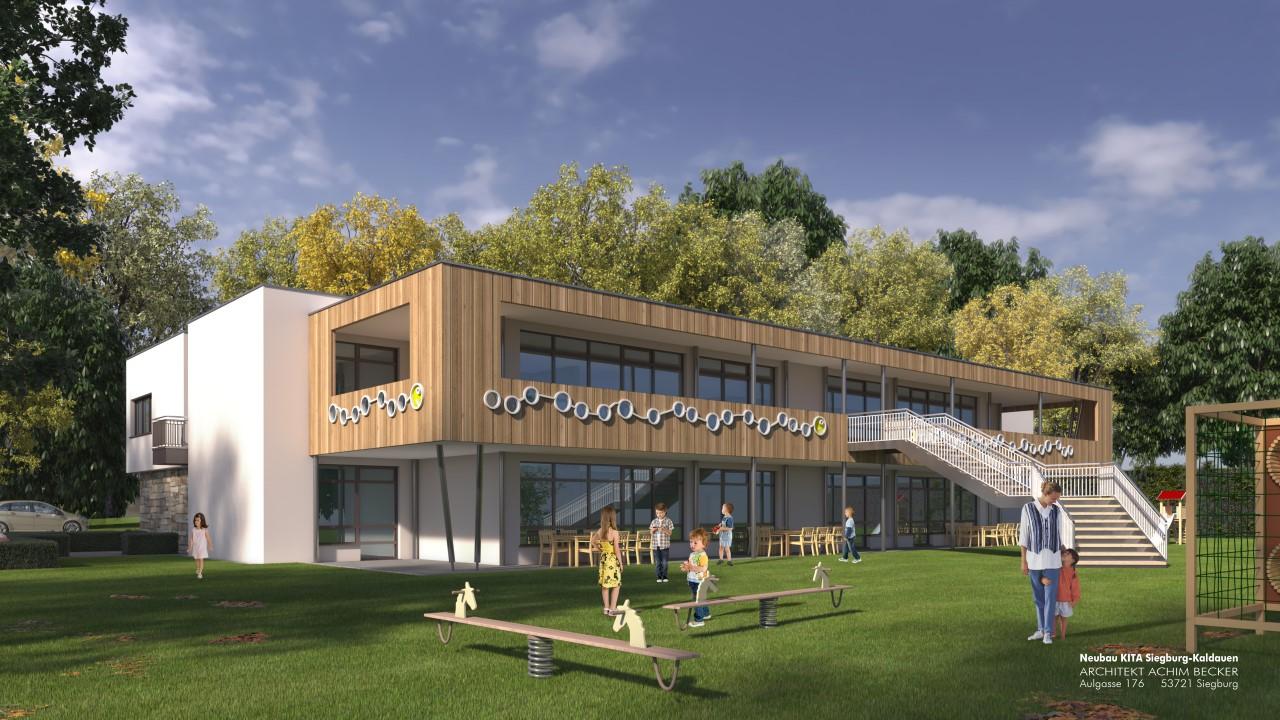 Das Bild zeigt einen Entwurf der Kindertagesstätte in Siegburg-Kaldauen