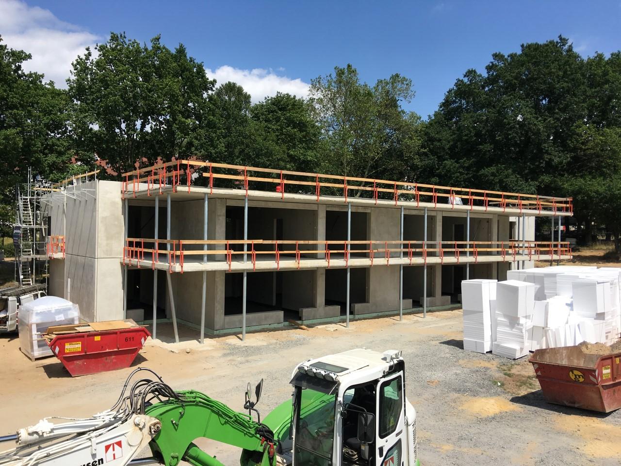 Das Bild zeigt eine Außenaufnahme vom Bau der Kindertagesstätte in Siegburg-Kaldauen