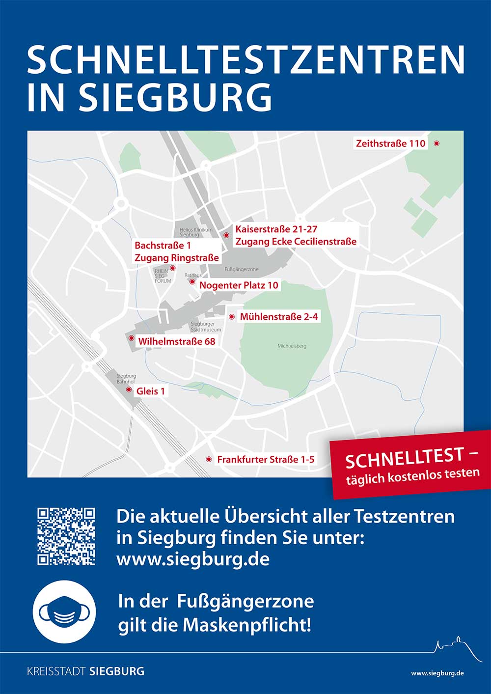 Das Plakat zeigt eine Übersicht der Corona-Schnelltestzentren im Bereich der Siegburg Innenstadt