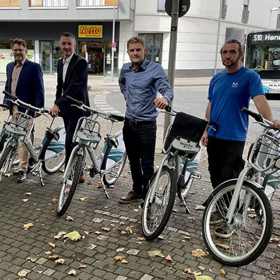 Leihräder in Siegburg mit Bürgermeister Franz Huhn