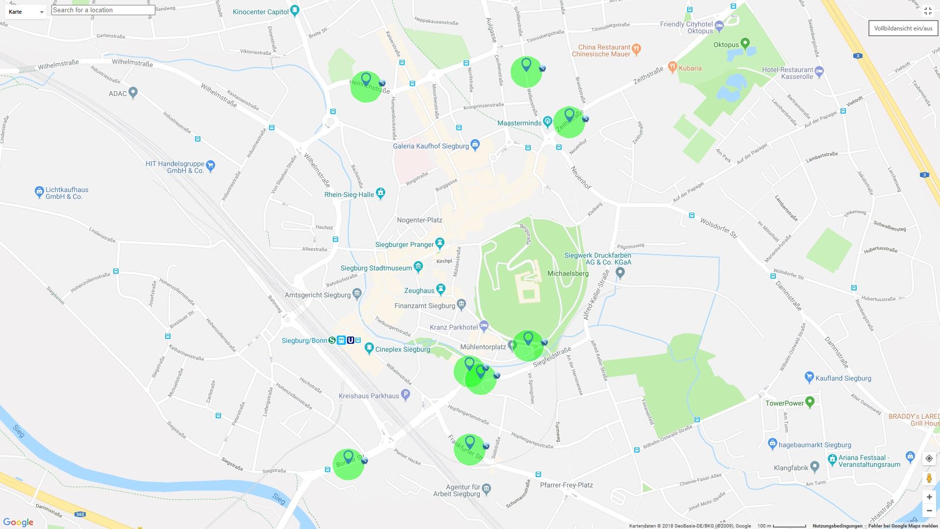 Das Bild zeigt eine Übersichtskarte der NO2-Messtationen in Siegburg