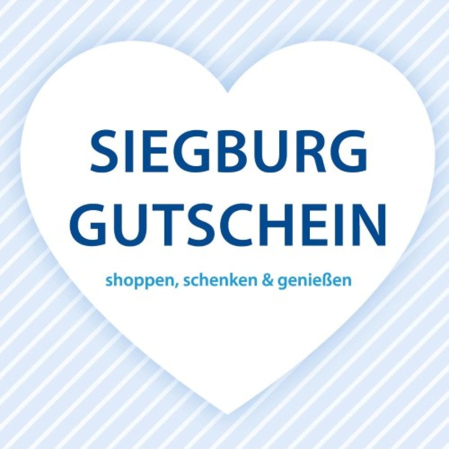 """Ein junges Paar bildet mit den Händen ein Herz. Darin der Schriftzug """"verliebt in Siegburg"""" sowie am rechten, oberen Bildrand das Logo von Stadtmarketing Siegburg"""
