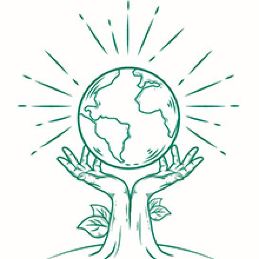 Das Bild zeigt 2 Hände über die eine Weltkugel schwebt