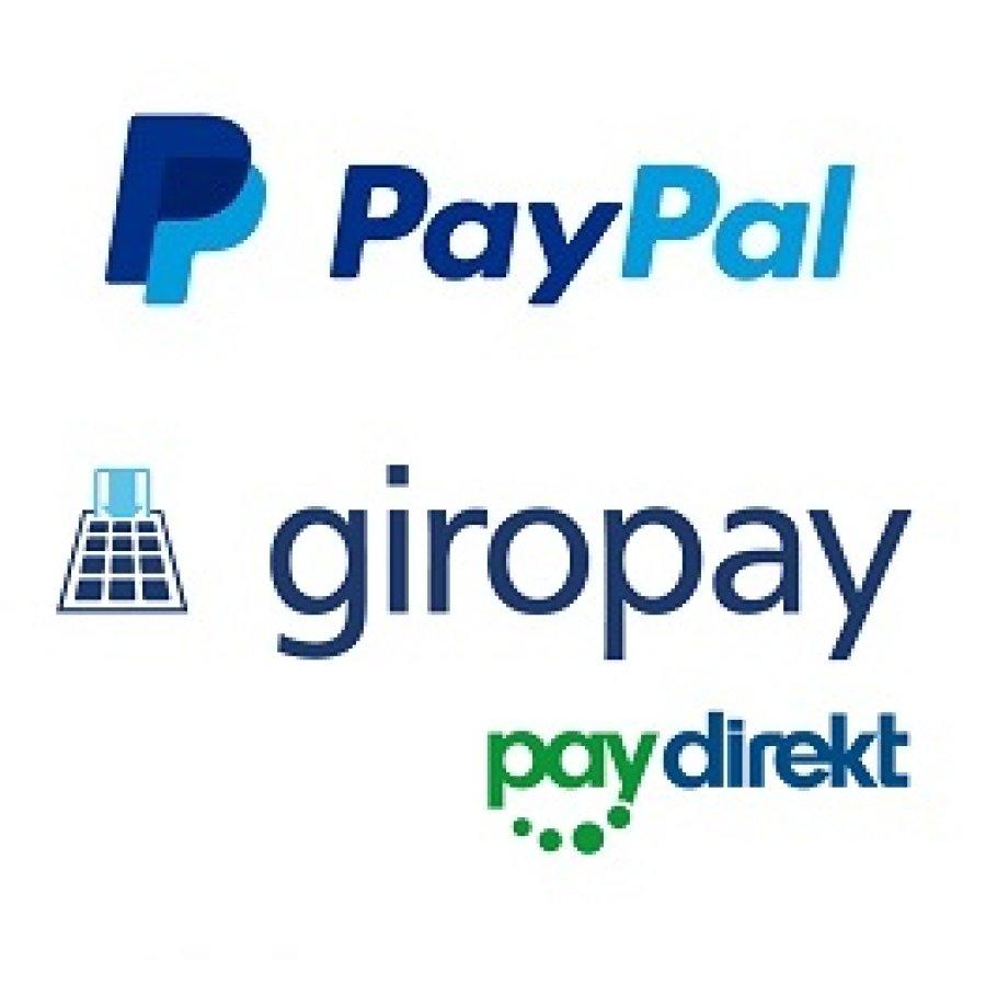 Logos von PayPal, giropay und paydirekt