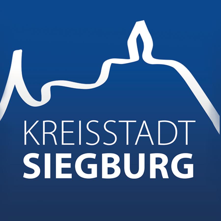 Das Bild zeigt das Siegburg Logo auf blauem Hintergrund