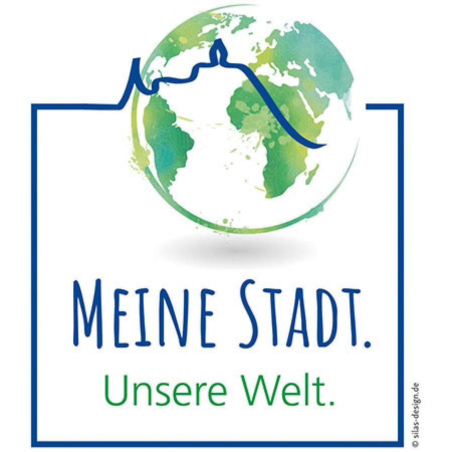 """Das Bild zeigt das Logo der Aktion """"Meine Stadt. Unsere Welt"""""""
