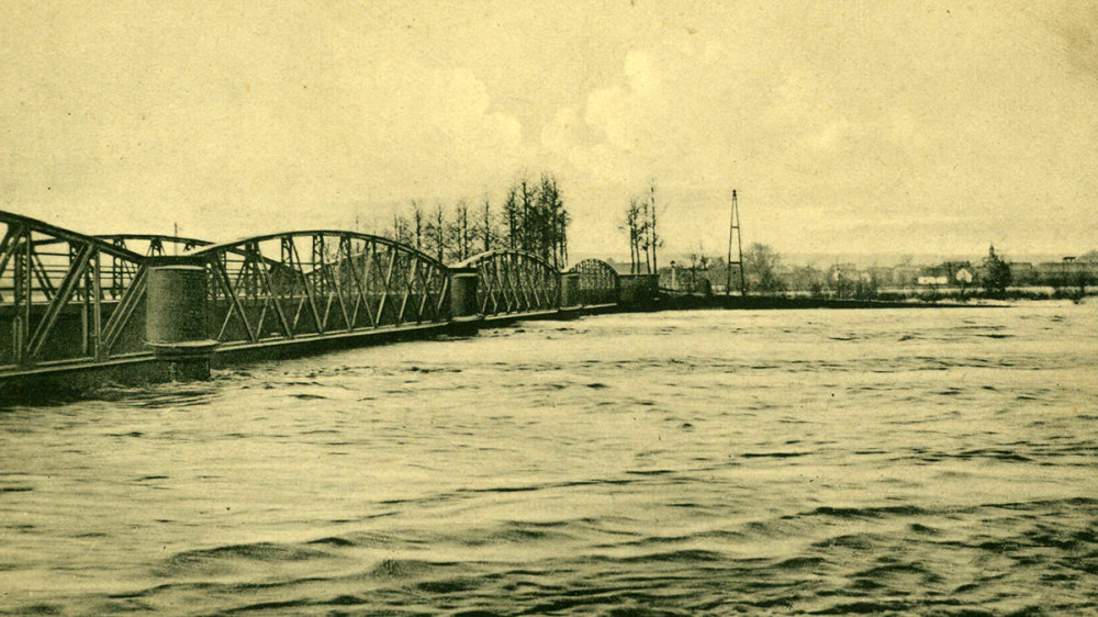 Siegburg-Mülldorfer-Brücke beim Februar-Hochwasser des Jahres 1909
