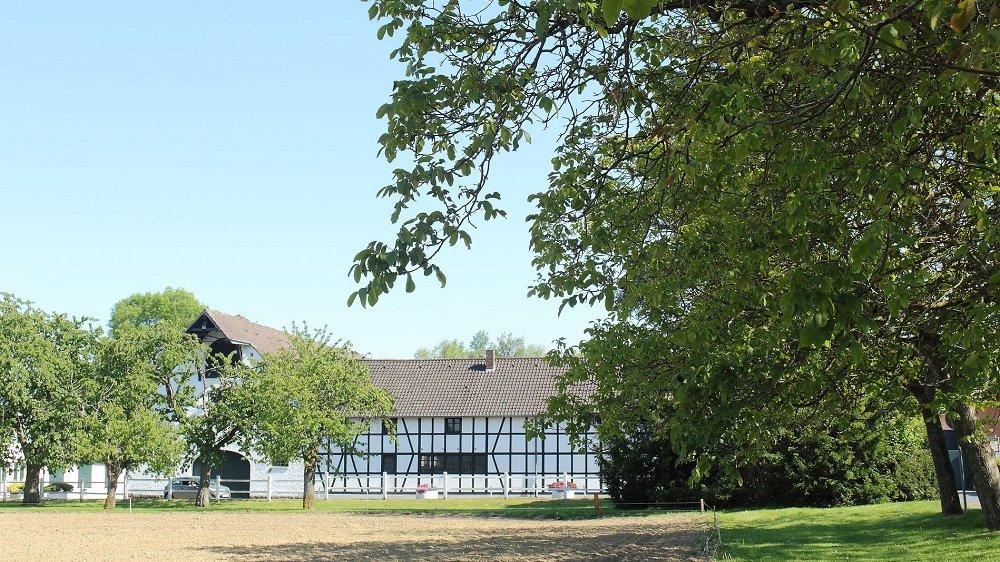 Fachwerkhaus über einem Feld und neben Bäumen.