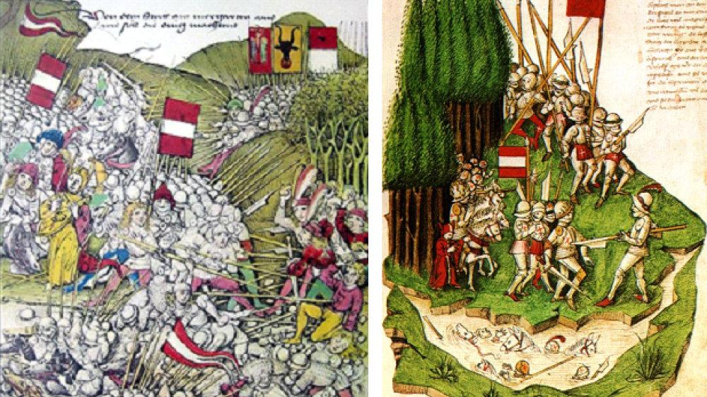 Schlacht am Morgarten, zeitgenössische Darstellung von Schilling sowie eine Darstellung von Bendis Tschachtla aus dem Jahr 1470