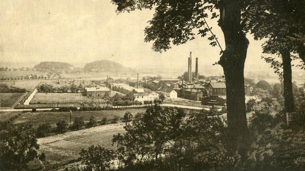 Siegburg 1915, Blick vom Michaelsberg auf die Kattunfabrik, heute Siegwerk