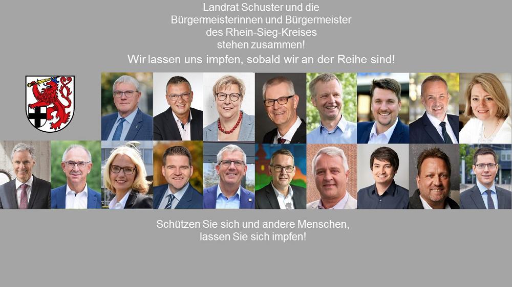 Die Bürgermeister und der Landrat des Rhein-Sieg-Kreises