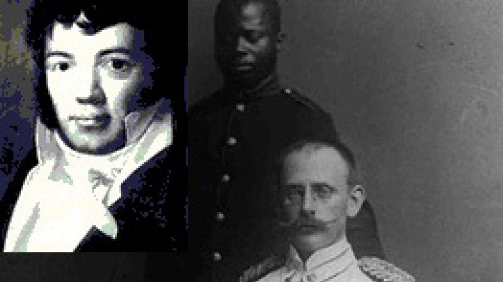 Kolonialrassist und Mörder Carl Peters, groß im Bild, eingeklinkt der Musikverleger Carl F. Peters