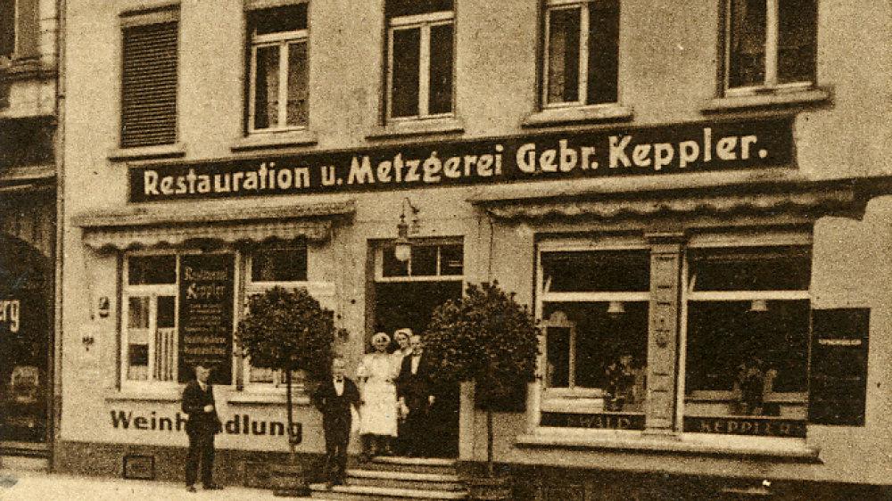 Gaststätte und Metzgerei Keppler, Kaiserstraße 27, im Jahr 1928