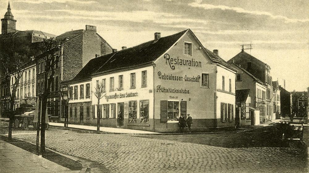 Gasthaus Seelbach an der Ecke Mühlenstraße/Siegfeldstraße 1925