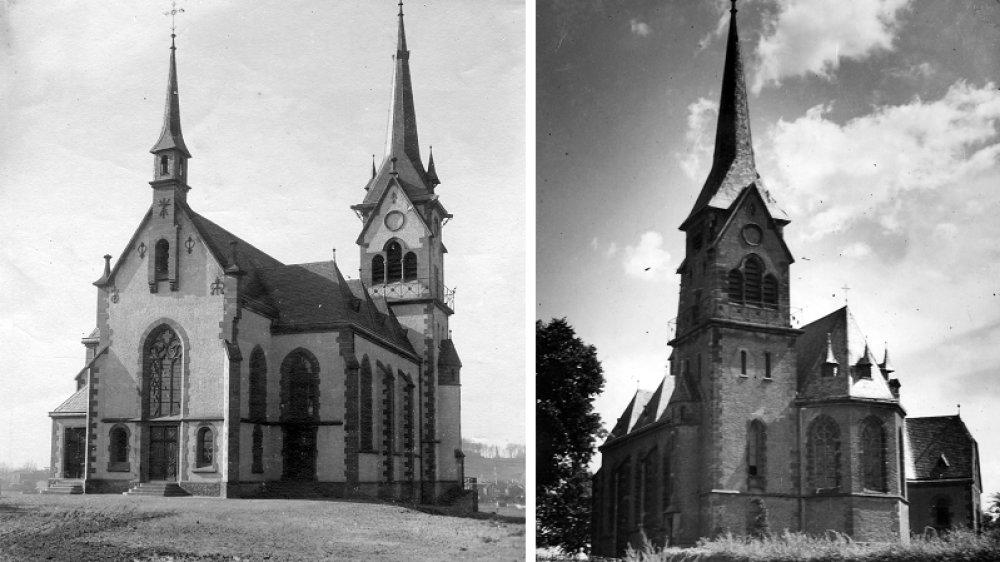 Wolsdorfer Kirche St. Dreifaltigkeit in den Jahren 1902 und 1956