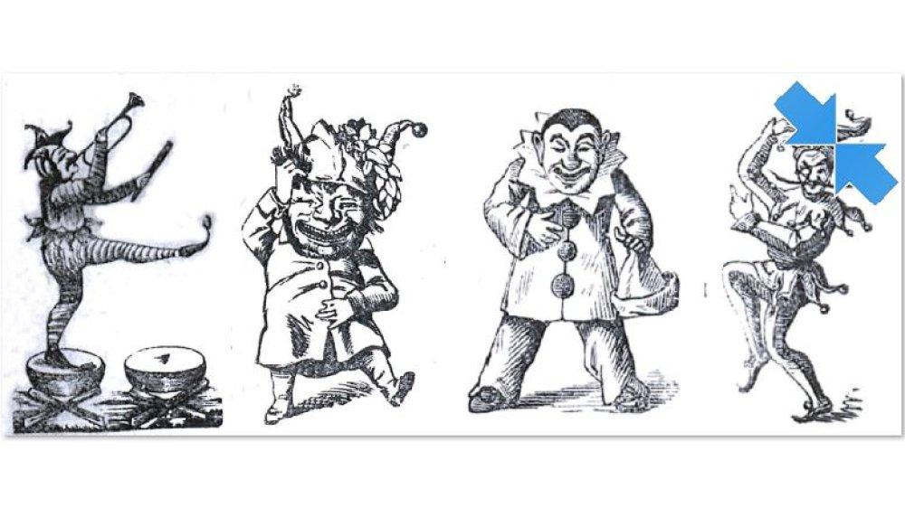 Original-Zeichnungen von Jecken, mit denen Siegburger Vereine oder Gaststätten für ihre Veranstaltungen in der Session 1911 warben