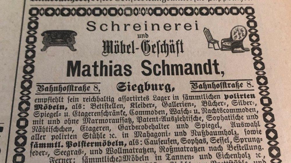 Anzeige Möbel Schmandt von 1881