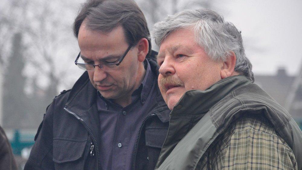 Thomas Schmitz, links, mit dem Anfang des Jahres verstorbenen langjährigen Vorsitzenden des Fischschutzvereins, Hubert Linden