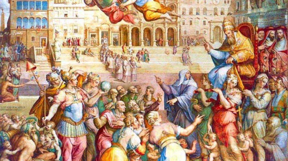 Katharina von Siena begleitet 1377 Papst Gregor XI. zurück aus Avignon nach Rom (Fresko von Giorgio Vasari, um 1571)