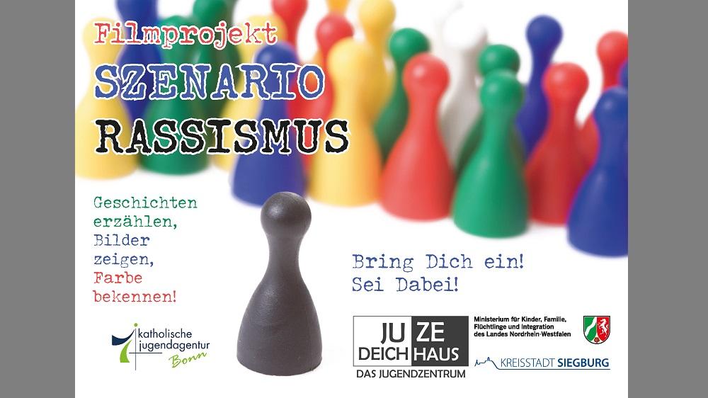 """Werbepostkarte für das Projekt """"Szenario Rassismus"""""""