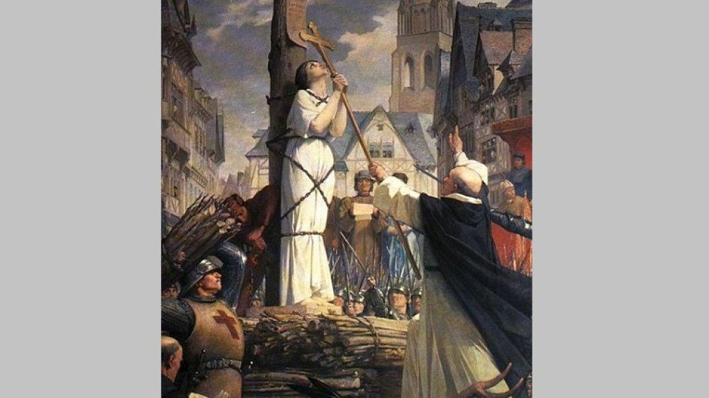 Verbrennung der Johanna von Orleans in Rouen, Gemälde von Jules-Eugène Lenepveu (1819-1898)