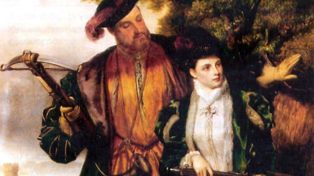 Heinrich mit Anne Boleyn bei der Jagd, Gemälde von William Powell, 19. Jahrhundert