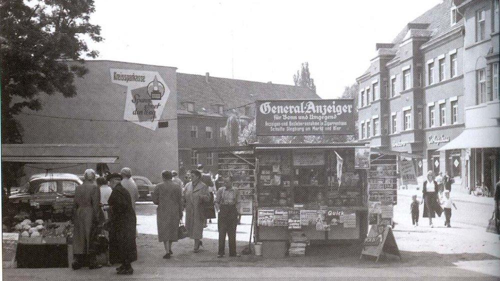 Bahnhofstraße, Blick in neue Poststraße um 1960