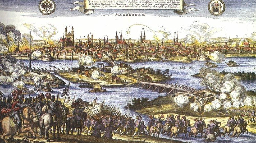 Die Eroberung Magdeburgs, zeitgenössisches Gemälde von Johann Philipp Abelin
