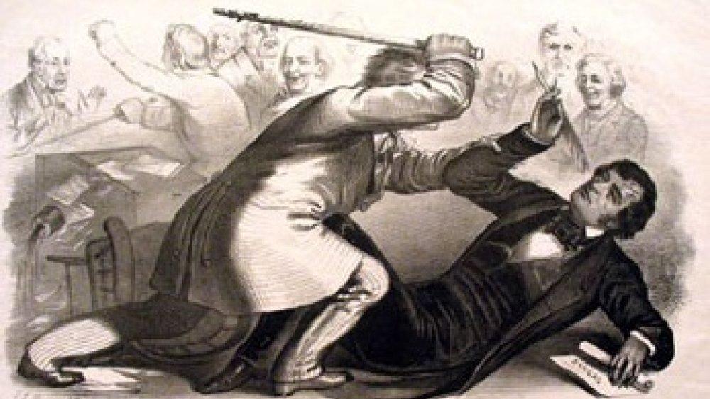 Preston Brooks und Charles Sumner prügeln sich im amerikanischen Senat 1856