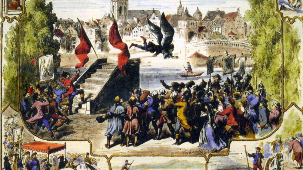 Der Schneider fliegt in die Donau, Holzstich von 1866