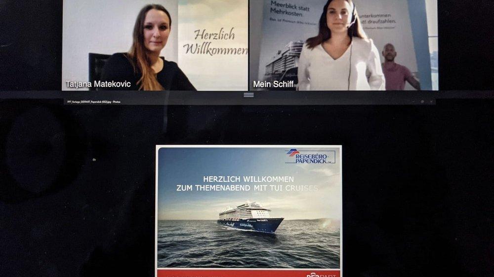 Screenshot einer Videokonferenz, im oberen Fenster zwei junge Frauen, im unteren das Bild eines Kreuzfahrtschiffes.