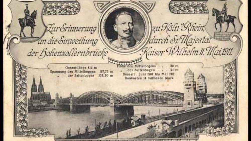 Der Kaiser weiht 1911 die neue Hohenzollernbrücke in Köln ein