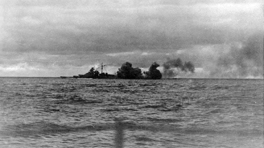 Die getroffene Bismarck 1941