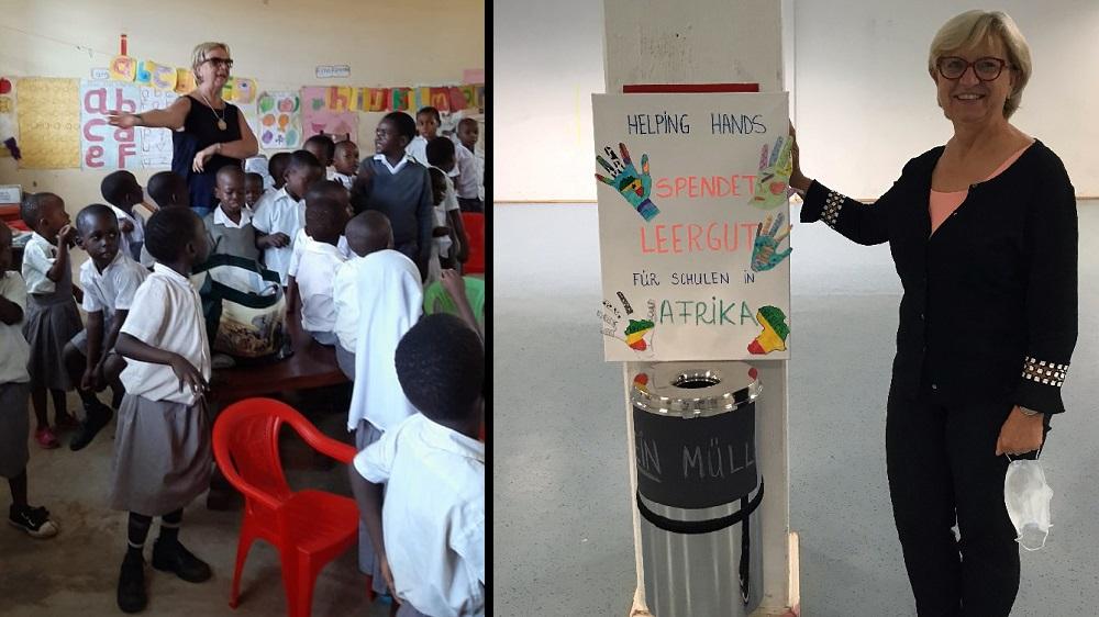 Doppelfoto: links Klaudia Swierzy mit Schülern der Mwakigwena Primary School, rechts Klaudia Swierzy an einer Sammeltonne in der Gesamtschule der Kreisstadt Siegburg