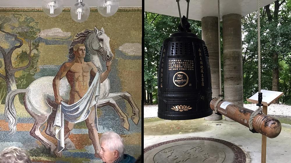 links: Reitermosaik, rechts: buddhistischer Glockenturm