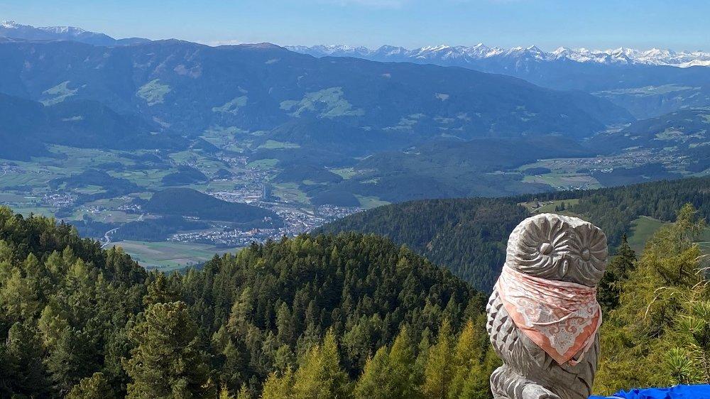 Holzgeschnitzte Eule, im Hintergrund schneebedeckte Berge
