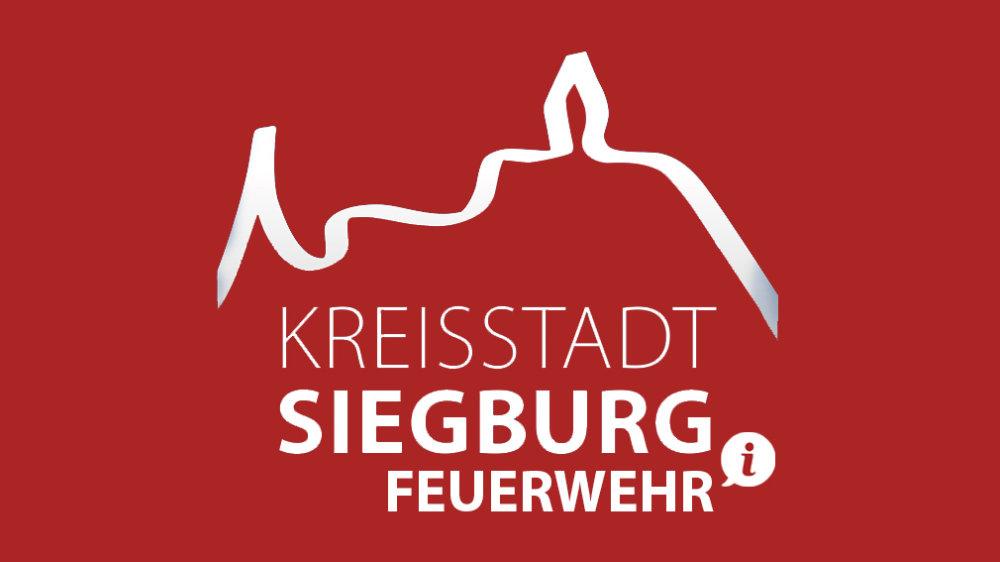 Das Bild zeigt das Logo der Stadt Siegburg auf rotem Hintergrund mit dem Zusatz Feuerwehr